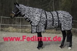 Fliegendecke Zebra mit Bauchlatz oder ohne